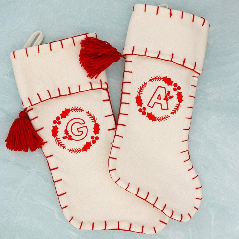 cute and easy diy felt and vinyl monogrammed stockings