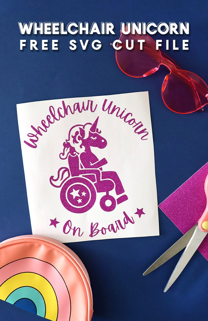 Wheelchair Unicorn on Board Decal cut from glitter vinyl made from free SVG cut file.