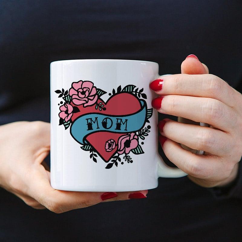 mom heart tattoo mug