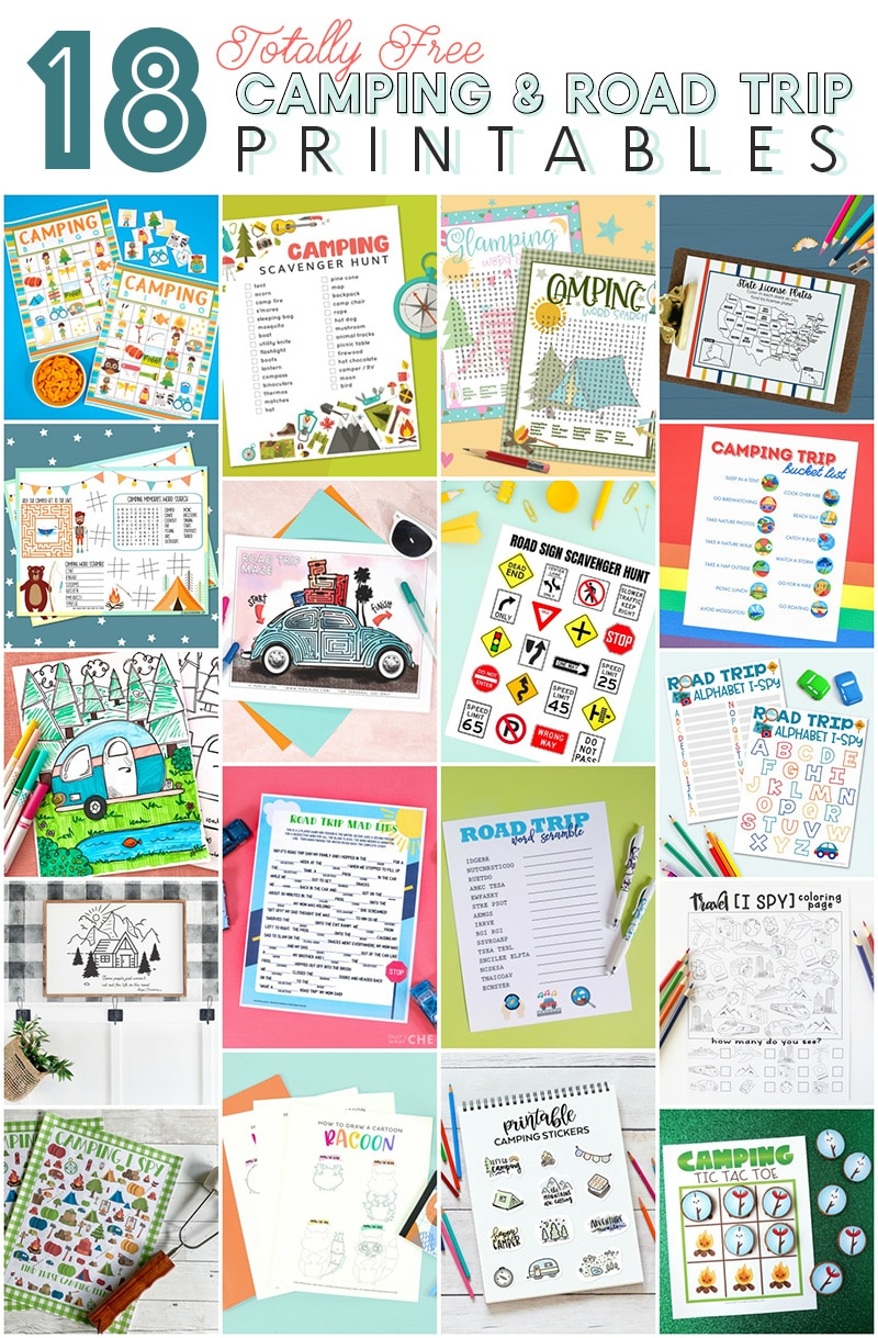 18 free road trip and camping printables collage