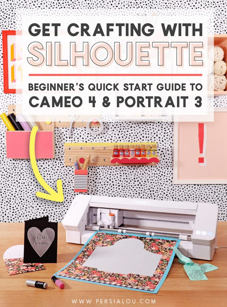 Silhouette Cameo 4 on a table with card and envelope. Text above the machine reads How to Use Your Silhouette: Beginner's Quick Start Guide to Cameo 4 and Portrait 3