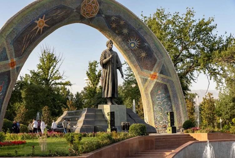 Statue of Persian poet Rudaki in Dushanbe, Tajikistan