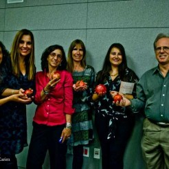 Love and Pomegranates reading at Dr. Martin Luther King, Jr. Library October 2013 (l to r: Farnaz Fatemi, Jasmin Darznik, Persis Karim, Meghan Nuttall Sayres, Azin Arefi, and Brian Appleton)