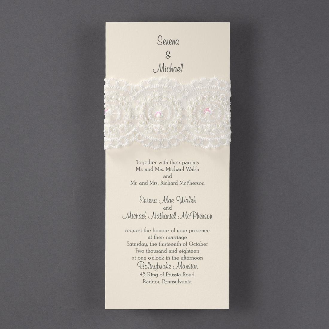 wedding invitation with lace wrap rustic elegant