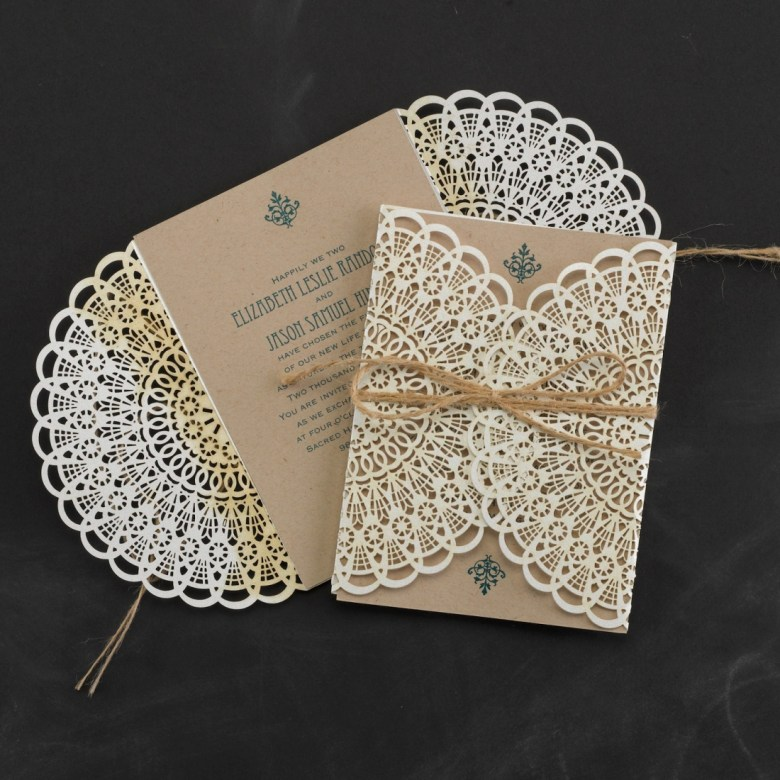 lace wedding invitation laser cut rustic twine lace wrap