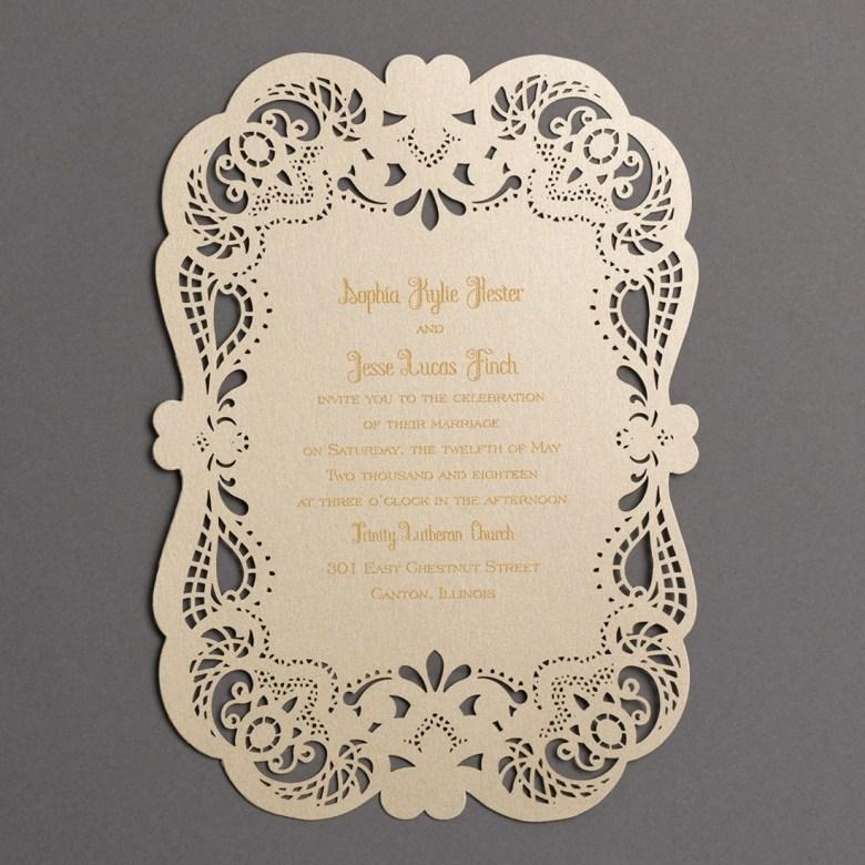 lace invitation shimmer laser cut