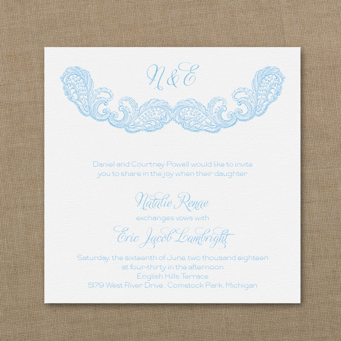 lace wedding invitation art deco