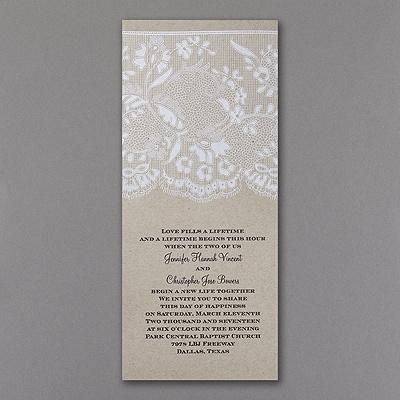 lace wedding invitation rustic charm
