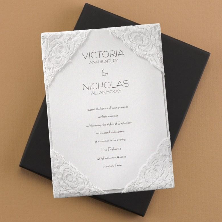 lace invitation silk luxury invitation