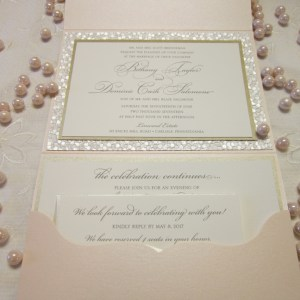 pebble paper blush invitation