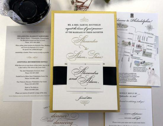 gold foil letterpress custom wedding invitation watercolor map philadelphia
