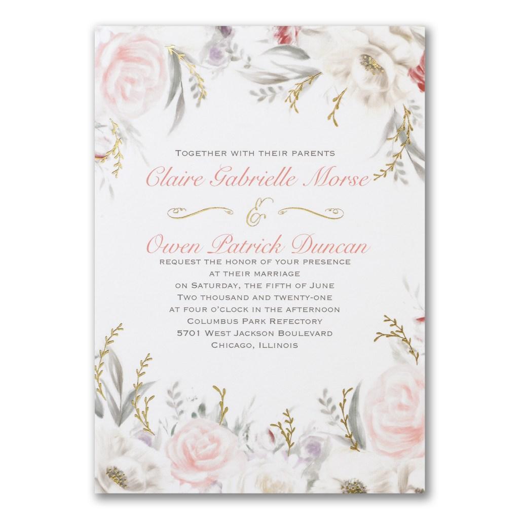 floral foil wedding invitation