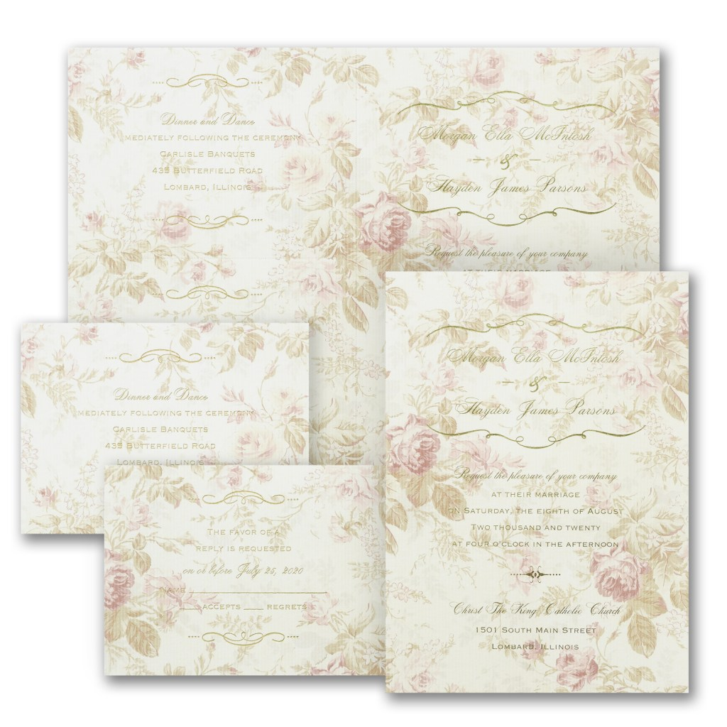 faded roses romantic wedding invitation budget friendly