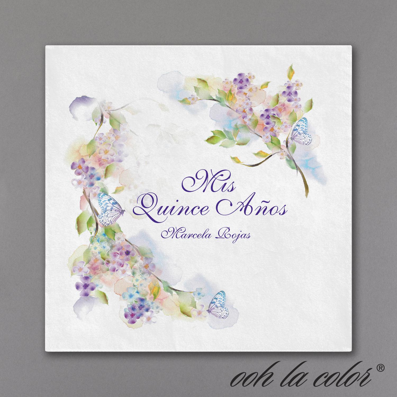 Quinceañera feminine floral napkin