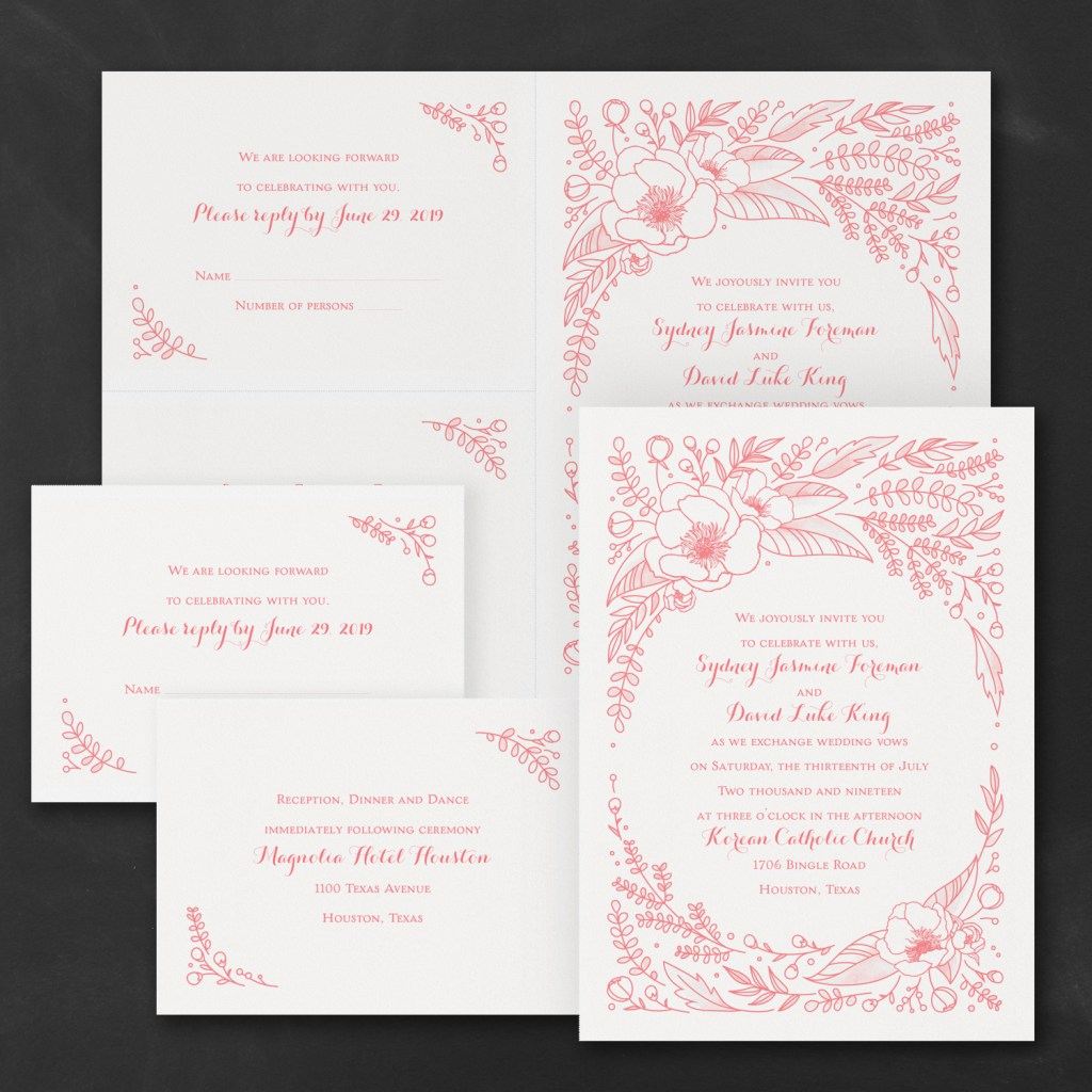 flower surround wedding invitation budget friendly