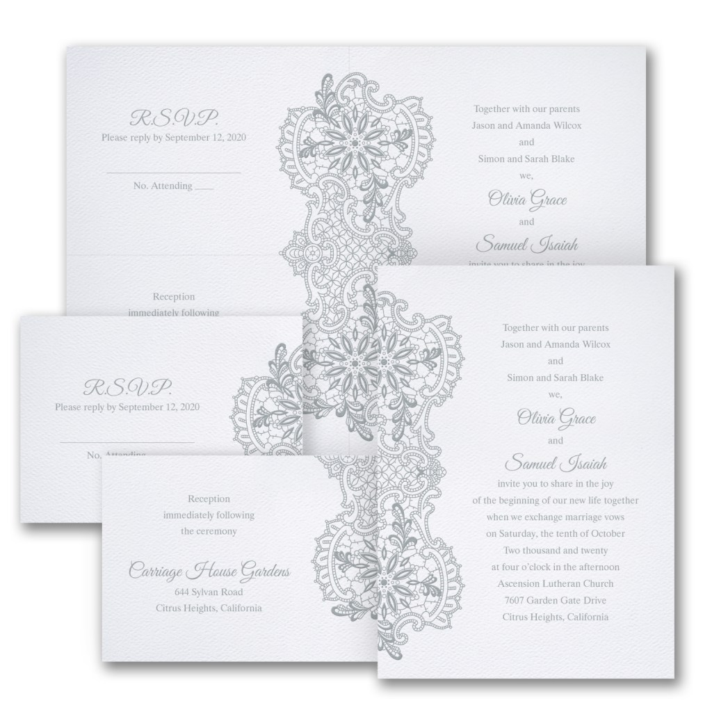 lace gleams wedding invitation budget friendly