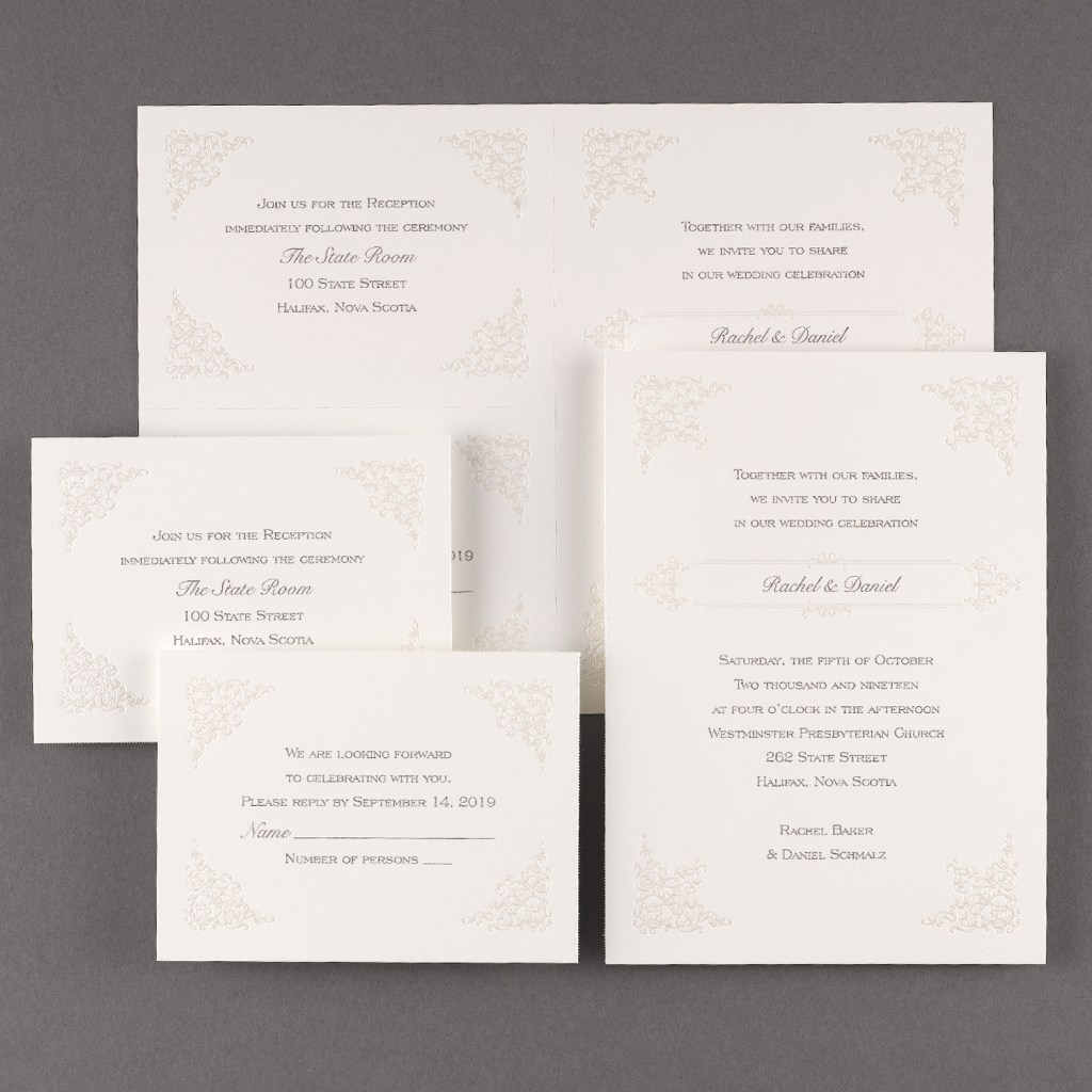 pearl damask wedding invitation budget friendly