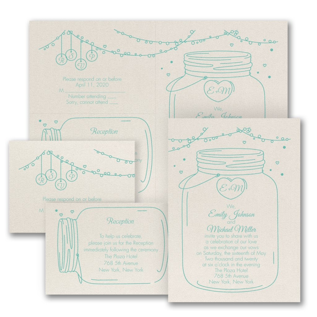 mason jar rustic wedding invitation budget friendly