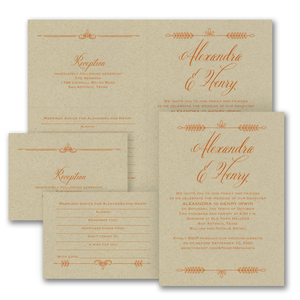 laurel wedding invitation kraft budget friendly