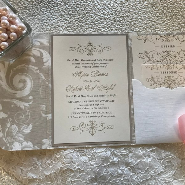 patterned wedding invitation pocket ivory
