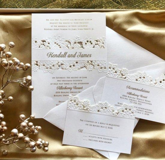 forever charming laser cut gold foil wedding invitation