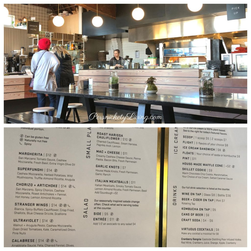 Interior of Virtuous Pie + Menu