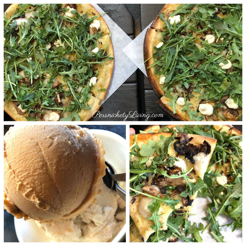 Superfunghi Gluten-Free Pizza with Hazelnut Latte & Bourbon Vanilla Ice Cream