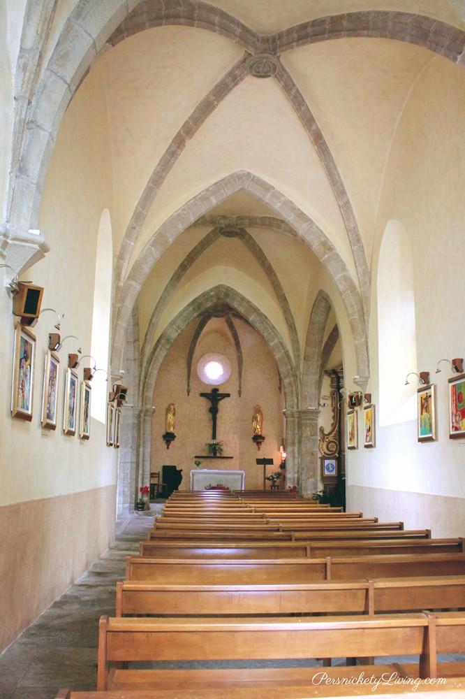 Church interior French town Belcastel