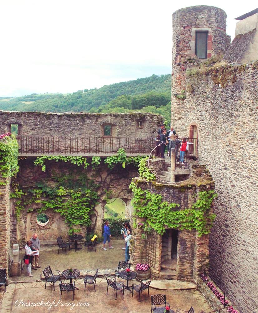 Castle courtyard in French town Belcastel