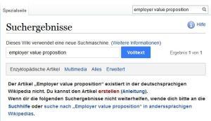 EVP Arbeitgebervorteil existiert nicht auf Wikipedia