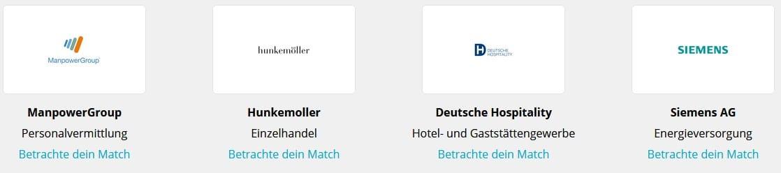 CompanyMatch Screenshot weitere Matches mit Unternehmen