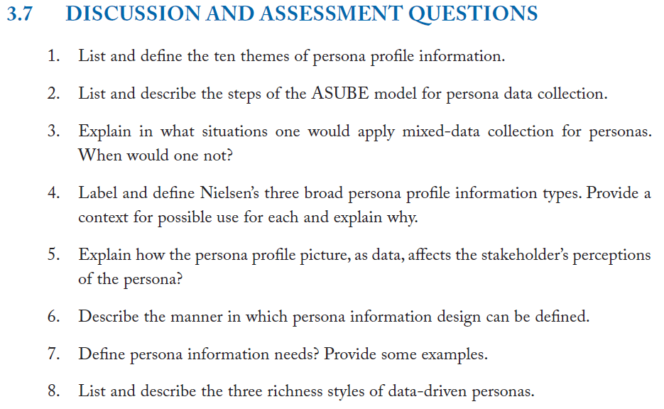 Data-Driven Personas Book Chapter Discussion Questions