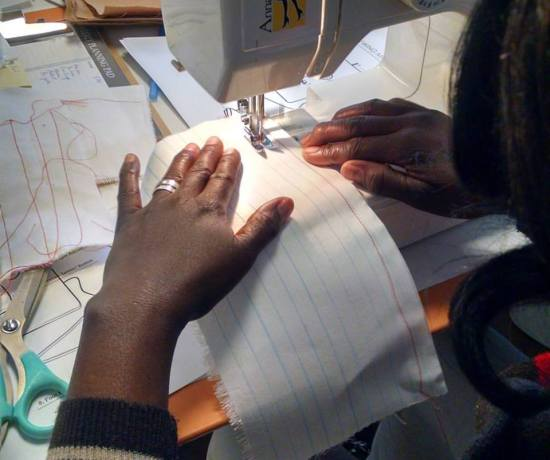 Sewing class for refugee women