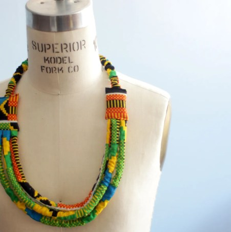 Kente African Bib Necklace