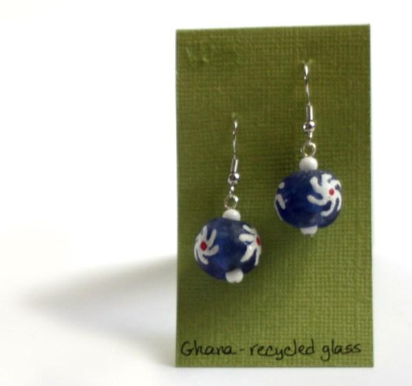 Blue Circular Glass Earrings