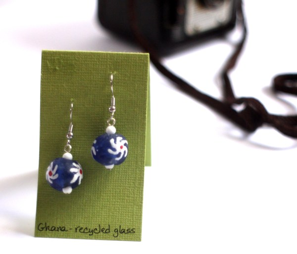 Blue glass ghana earrings