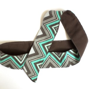 Grey and teal striped head band wrap