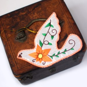Orange Peace Dove Ornament Christmas