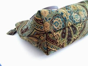 blue gold tapestry carpet bag