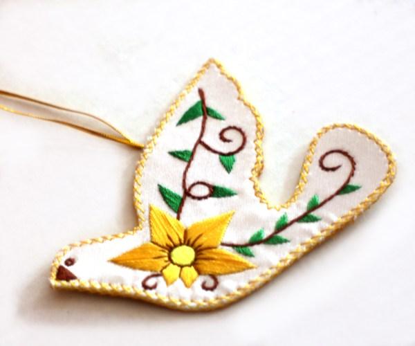 hand embroidered peace dove ornament