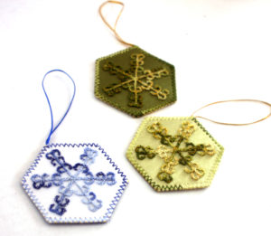 Hand embroidered Christmas Ornaments