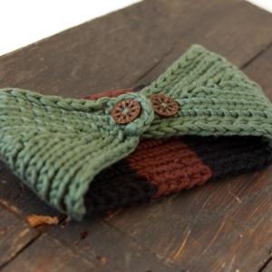 Brown & Green Knit Ear Warmer Handmade
