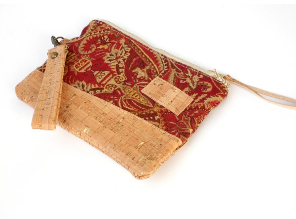 Red Gold Cork Tapestry Wallet Made in NC