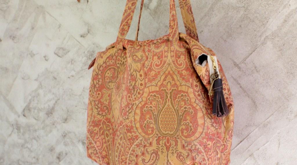 Pink and Gold Carpet Bag