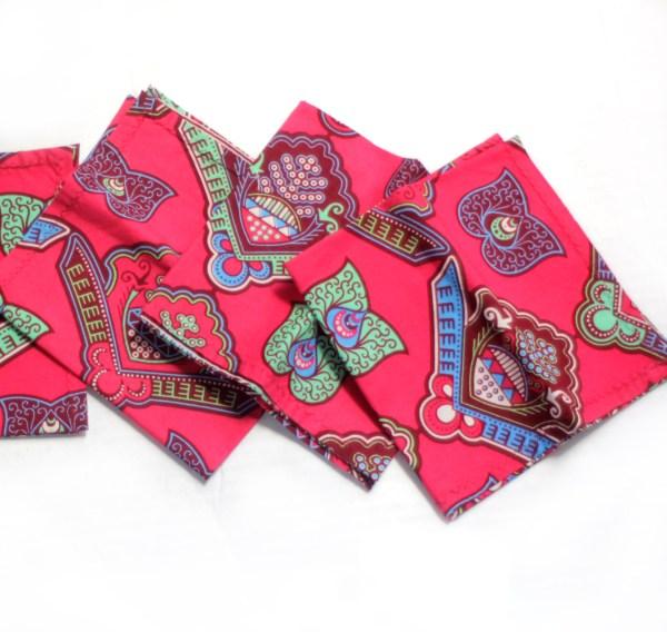 African Print Pink Wax Napkins