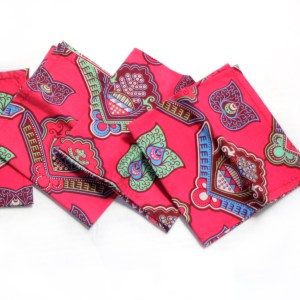 African Print Pink Wax Napkins