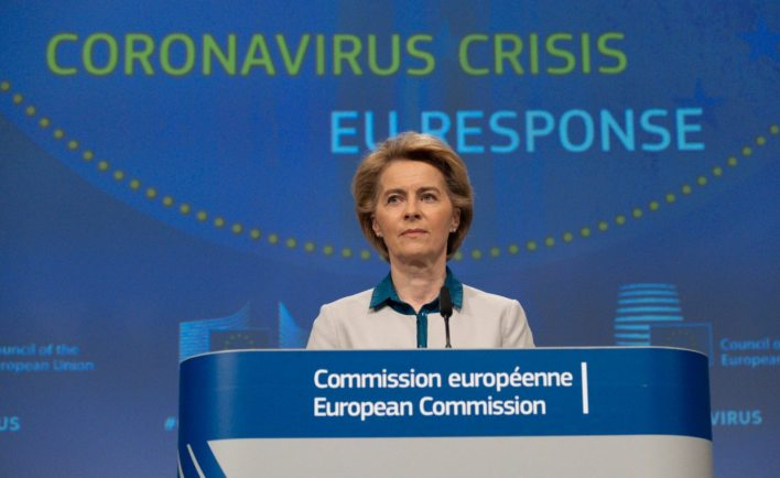 EU Commission President Ursula von der Leyen at a press conference in mid-April. On May 27, she presented the Commission's proposal for the new EU budget and a recovery program to help people recover from the Corona crisis
