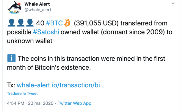 Whale Alert Tweet about a possible Bitcoin transaction by Satoshi Nakamoto