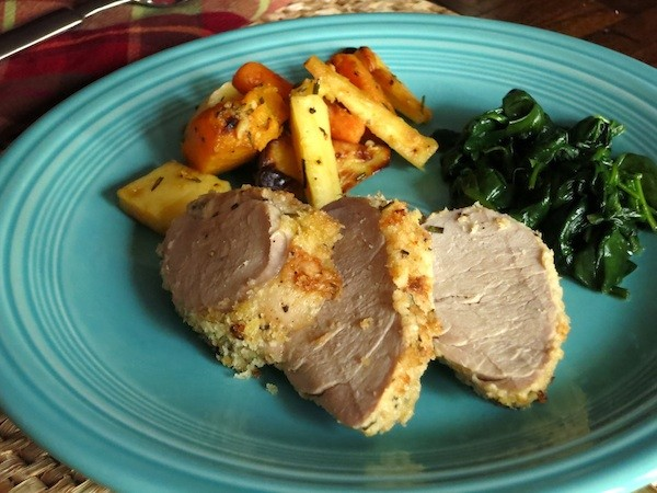 Herb Roasted Pork Loin with Roasted Mixed Root Vegetables and Sauteed Spinach