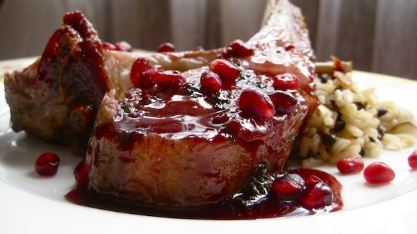 Rack of Lamb in Pomegranate-Mint Sauce